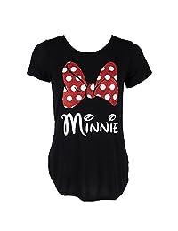 Disney Women's Fashion Glitter Minnie Mouse Bow T Shirt