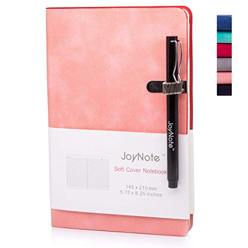 JoyNote A5 Classic Notebook with Pen Holder, College Ruled Harcdcover Notebooks Journal, Thick Paper Pink Notebook, 96 Sheets/192 Pages, 5.75 x 8.25 -