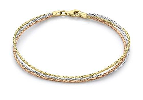 """Bracelet Tressé 3couleurs-Or Triple 9ct 19cm/7,5"""""""