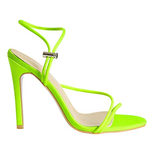 OLCHEE Women's Fashion Strappy High Heel Sandals - Pointy Open Toe Ankle Strap Stilettos - Neon Yellow Fluorescent Lycra Size 6