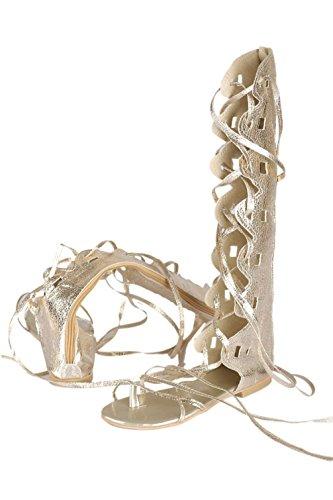 Genou Plus Sandales Plates Femmes Des Gladiateur Été Haut Taille Golden Plage Chaussures Bottes Sandalia La Plates qwSH6wznI