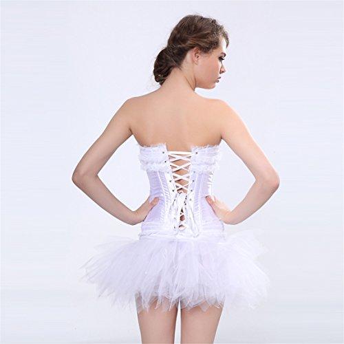Rosfajiama Mujer Gótico deshuesada corsés y Bustiers de encaje con falda blanco