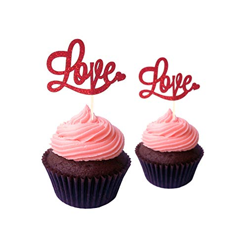 Valentine's Day Cupcake Topper cardstock Color Red 12 pc Pack Decoration ()