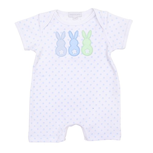 Magnolia Baby Baby Boy Little Peeps Applique Short Playsuit Blue