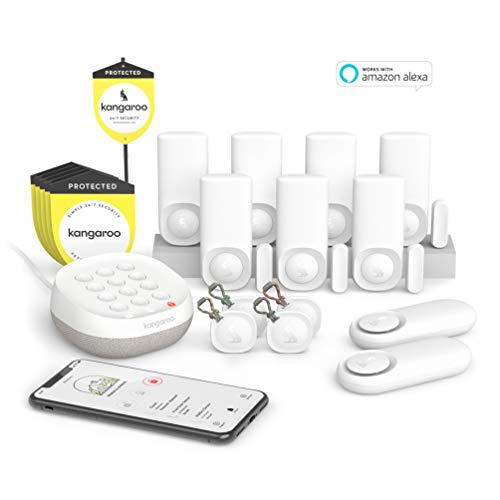 Kangaroo Home Security System | 14-Piece Kit | Alexa and Google Home Compatible | Pet-Friendly | WiFi & App-Based | | Alarm, 7 Motion + Entry Sensors, 2 Climate Sensors, 4 RooTags, Kangaroo Complete