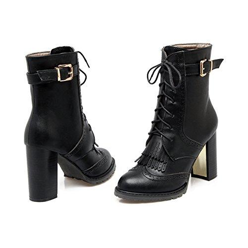 OCHENTA Femme Bottes Automne Talon Bloc Hauteur 9.5cm Boots Noir