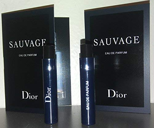 Dior Sauvage Eau De Parfum 2018 Sample-Vials For Men, 0.03 oz EDP -Lot Of 2- -Name Brand Cologne Samples Included- by Dior