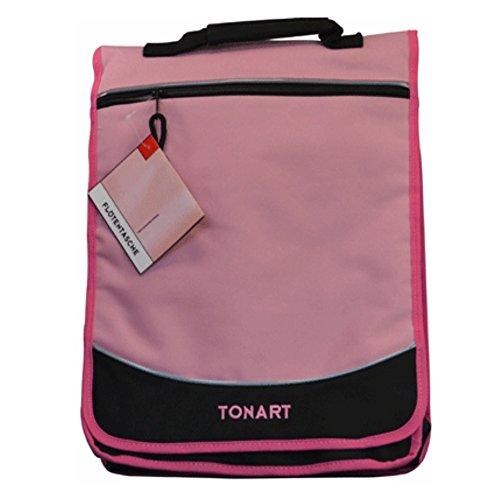 Ton Art Rucksack Tasche Umhänge Bag rosa schwarz mit vielen Fächern