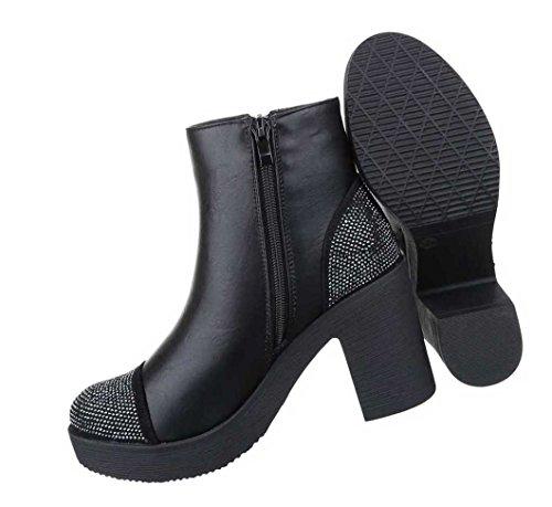Damen Stiefeletten Schuhe Boots Mit Strass Schwarz 36 37 38 39 40 41 Schwarz