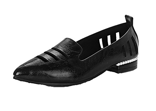 Odomolor Women's Closed-Toe Low-Heels Solid Pull-On Court Shoes Black 7ckupc