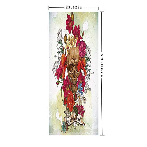 """Bathroom Privacy Film,No Glue Static Decorative Films by Size(23.62""""x59.06"""")Multicolor,Waterproof PVC Anti-uv Non-Adhesive Heat Control Sticker Window Decal by Skull Dead Head with Flowers Daisies Sp"""