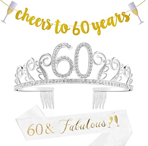 60th Birthday Decorations Gifts for Women,60 Birthday Set - Gold Banner,Rhinestone Queen Tiara with Fabulous at 60