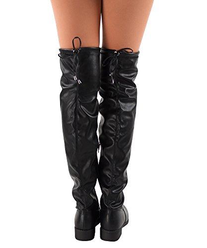 RF RAUM DER MODE Frauen Overknee Low Block Heel Pull Stretch-Stiefel - Erhältlich in mittleren und breiten Kalb Schwarz Pu - Mittleres Kalb