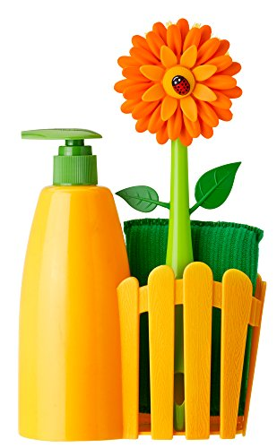 Vigar Flower Power Orange Sink Side Set With Soap Dispenser, 10-1/2-Inches, Orange, Green from Vigar