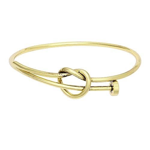 SENFAI Twist Knot Nail Bangle Heart Knot Bracelet Stack Bangle Cuff (Antique Bronze) ()