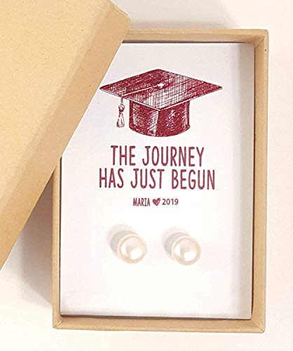 Graduation gift class of 2019, gifts for grads, college graduation gift idea pearl studs in sterling silver ()