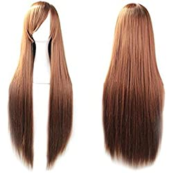 """Prettybuy 40"""" 100 High Quality Fashion Women's Cosplay Hair Wig Long Straight Hair Heat Resistant Costume Party Full Wigs (brown)"""