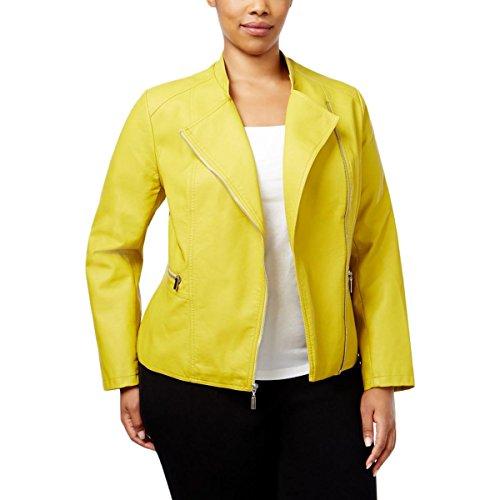 Alfani Womens Plus Faux Leather Asymmetric Moto Coat Green 0X (Coat Alfani)