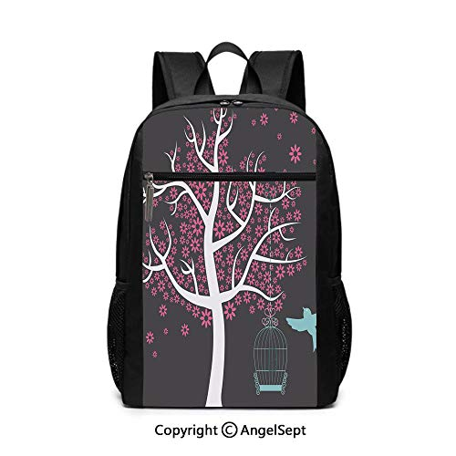 3D Print School Backpack,Tree with Bird Cage and a Bird Flowers for Leaves Nature Freedom Decorative,Chocolate Pink White Turquoise,6.5