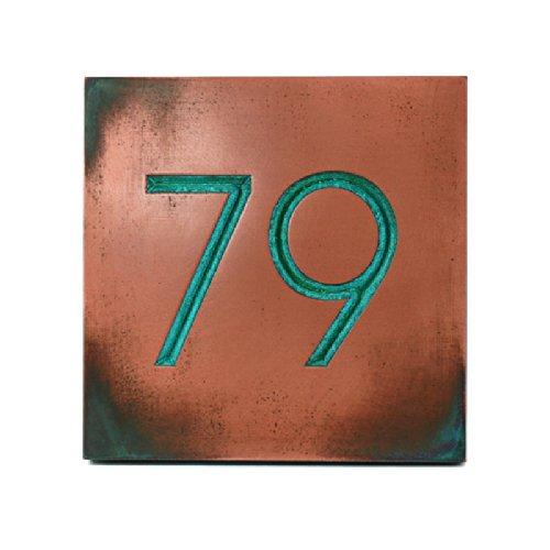 モダンAdvantage 2数アドレスPlaque 8 x 8 – Recessed銅Verdiメタルコーティング   B00KTFHYX2