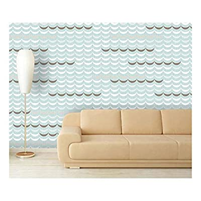 Large Wall Mural - Seamless Geometric Delicate Waves | Self-Adhesive Vinyl Wallpaper/Removable Modern Decorating Wall Art - 66