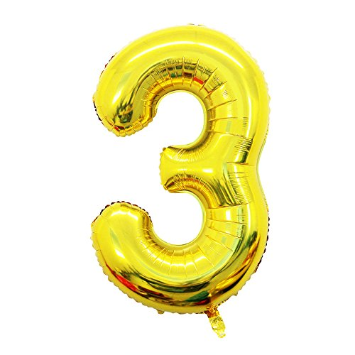 (2 Pcs 42 Inch Gold Foil Balloons Number 3 by GOER,Number Balloons for)