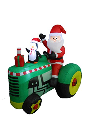 53 foot tall christmas inflatable santa claus drive tractor with penguin yard decoration - Christmas Outdoor Inflatable Decorations Clearance