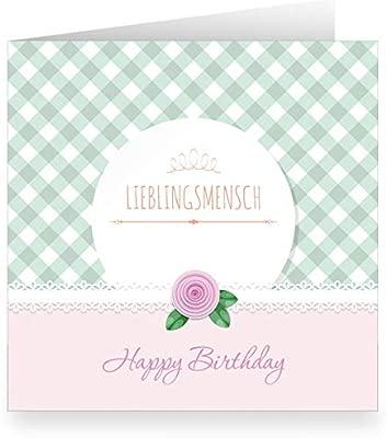 Tarjeta de cumpleaños rosa con cuadros y interior blanco ...