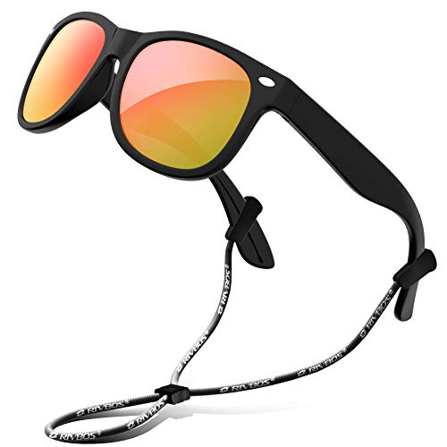 RIVBOS Rubber Kids Polarized Sunglasses with Strap Shades for Boys RBK004 Black Ice Red ()