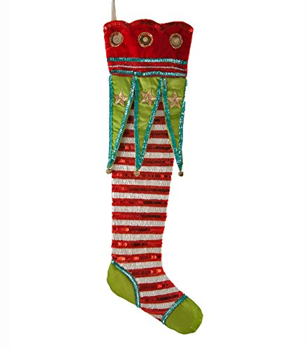 Katherine's Collection Red White Sequin Stripe Fancy Christmas Stocking - Katherines Collection Christmas Stocking