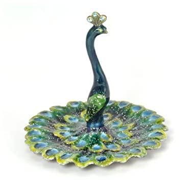 Peacock Enameled Pewter Ring/Jewelry Holder