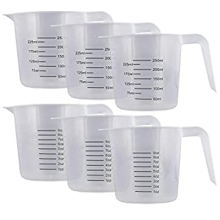 U.S. Kitchen Supply - 8 oz (250 ml) Plastic Graduated Measuring Cups with Pitcher Handles (Pack of 6) - 1 Cup Capacity, Ounce and ML Cup Markings - Measure & Mix Recipe Ingredients, Flour, Water, Oil