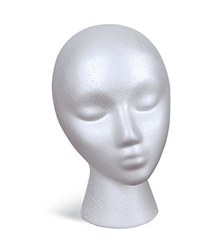 FloraCraft SmoothFoam Female Head 5.8 Inch x 7.5 Inch x 9.8 Inch White (Head Styrofoam Manikin)