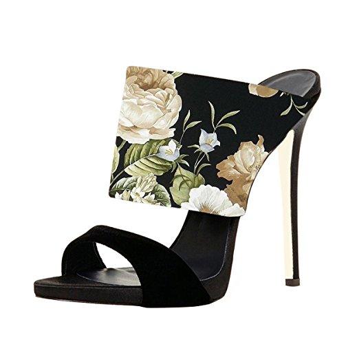 FSJ Women Versatile Open Toe Mule Shoes Feminine Slingback Stiletto Sandals Size 4-15 US Flowers