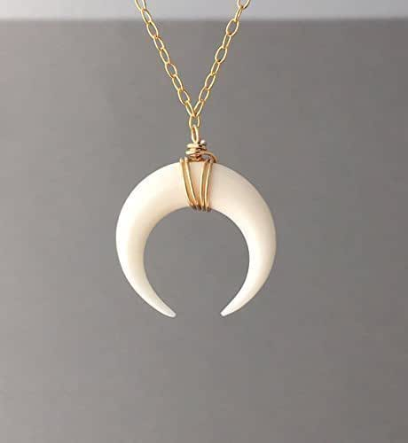 Crescent Horn Necklace: Amazon.com: SMALL White Bone Double Horn Gold Necklace