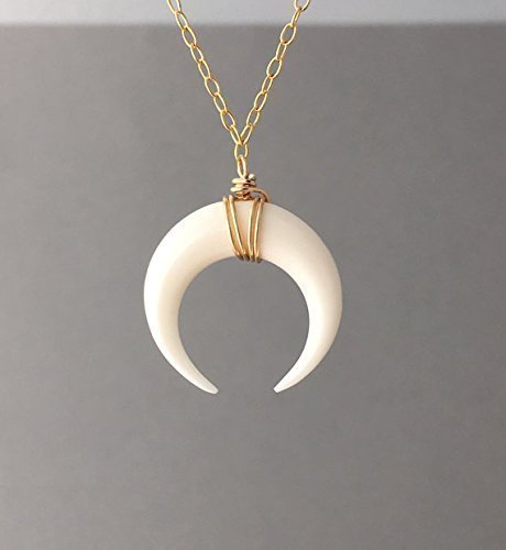 etsy market il crescent layered moon necklace cblt horn double tusk