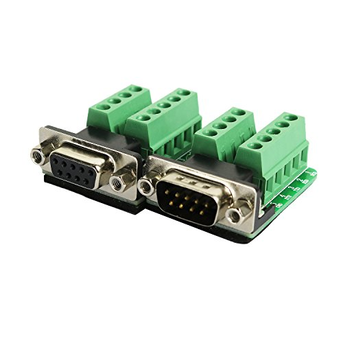 DB9 Breakout Connector RS232 Serial 9 Pin Connector Db9 Terminal (Male x 1, Female x 1)