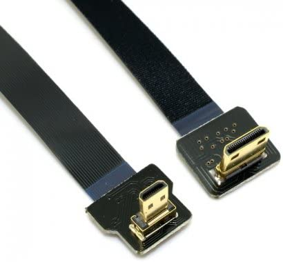 JSER 90 Degree Up Angled FPV Micro HDMI Male to Mini HDMI FPC Flat Cable 20cm for GOPRO Multicopter Aerial Photography JSER