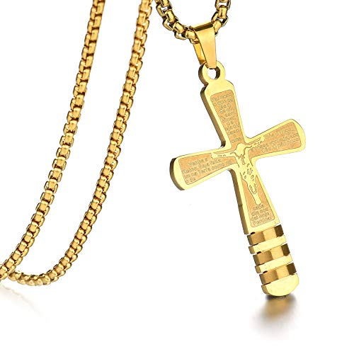 (Aiyo Nice Boys Mens Baseball Cross Pendant Necklace 18K Gold Plated Bible Verse Stainless Steel Necklace Jewelry (B-Gold))