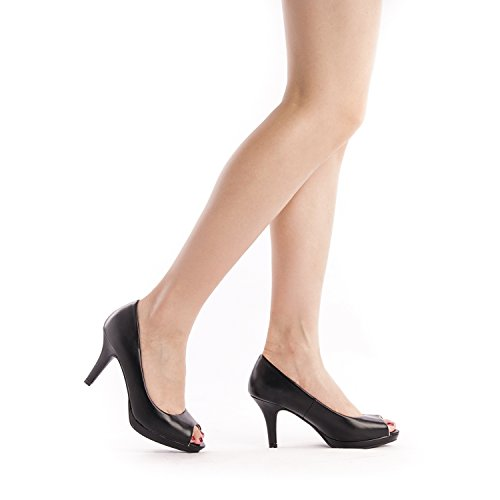 DREAM PAIRS Women's City_OT Black PU Fashion Stilettos Peep Toe Pumps Heels Shoes Size 9.5 B(M) US by DREAM PAIRS (Image #5)