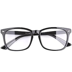 Agstum Wayfarer Plain Glasses Frame Eyeglasses Clear Lens (Shiny black, 53)