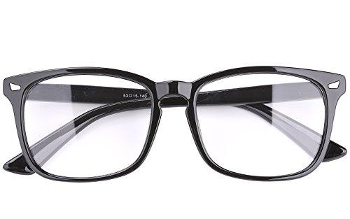 Agstum Wayfarer Plain Glasses Frame Eyeglasses Clear Lens (Shiny black, - Eyeglasses Fashion Men
