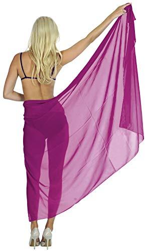 Costumi e590 Chiffon Spiaggia da LEELA da Crociera Abito Bagno Magenta Coprire Involucro Sarong Bagno LA Gonna Bikini Costume qST1YSw