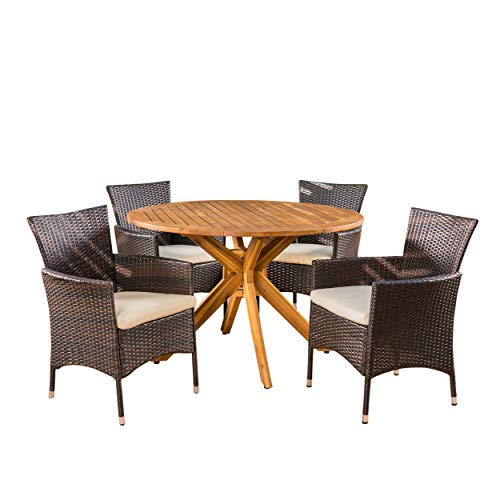 Teak Dining Table Set (Great Deal Furniture Jacob Outdoor 5 Piece Multibrown Wicker Dining Set with Teak Finish Circular Acacia Wood Dining Table and Beige Water Resistant Cushions)