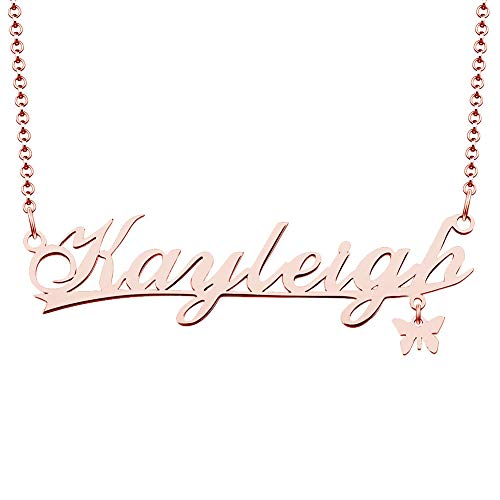 (CLY Jewelry Rose Gold Stainless Steel Butterfly Plate Costom Customized Personalized Kayleigh Name Necklace)
