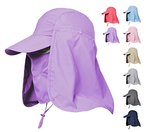 Jormatt Women & Men Outdoor Sun Hat Fishing Hiking Running Gardening Hat with Face Neck Flap Protection Cover Removable Summer UPF 50+ Folding UV Sun Cap,Purple