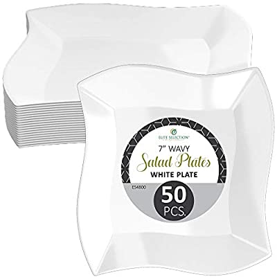 """Elite Selection"" Pack Of 50 White Dinner Wavy Square Disposable Plastic Party Plates"