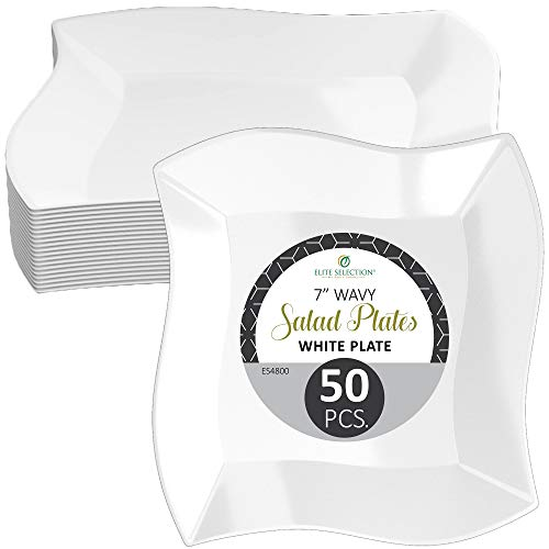 Disposable Plastic Salad Plates - 50 Pack 7