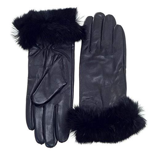Surell Leather Rabbit Fur Cuff Winter Gloves - Warm Rabbit Mittens - Cold Weather Clothing (Black, Medium)