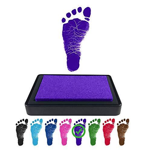 Baby Footprint Handprint Ink Pad - Create Impressive Keepsake Stamp - 100% Non-Toxic & Acid-Free Ink - Easy to Wipe/Wash Off Skin - Smudge Proof & Long Lasting Keepsakes (Violet)